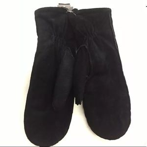 Mittens Genuine Leather Black Faux Fur